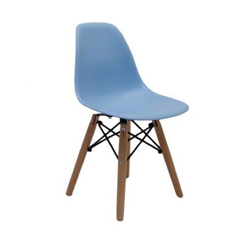 Cadeira Charles Eames Infantil Pés Madeira Azul