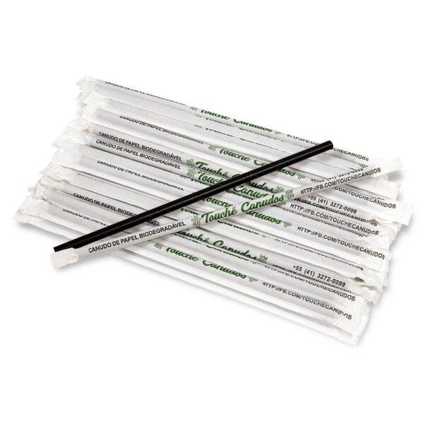 Canudo Biodegradável Preto (100 unidades)
