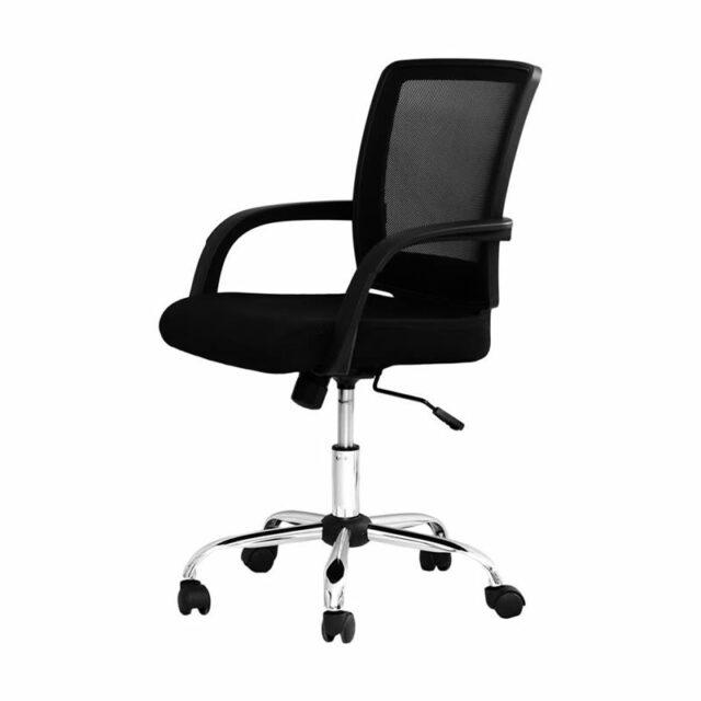 Cadeira Escritório Executiva Giratória Aço Cromado